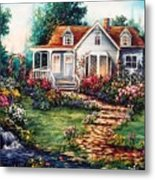 Victorian House With Gardens Metal Print