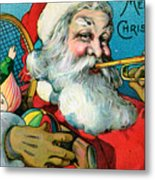 Victorian Illustration Of Santa Claus Holding Toys And Blowing On A Trumpet Metal Print