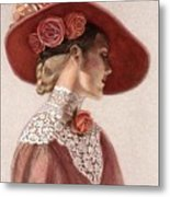 Victorian Lady In A Rose Hat Metal Print