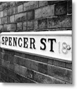 victorian metal street sign for spencer street on red brick building in the jewellery quarter Birmin Metal Print