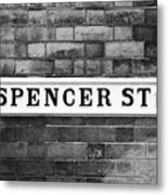 Victorian Metal Street Sign For Spencer Street On Red Brick Building In The Jewellery Quarter Metal Print