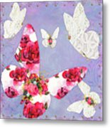 Victorian Wings, Fantasy Floral And Lace Butterflies Metal Print