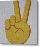 #victory Hand Emoji Metal Print
