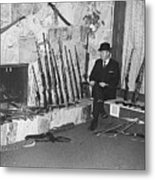 Viet Nam Vet John Dane With His Weapons Collection American Fork Utah 1975 Metal Print