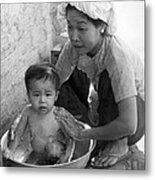 Vietnamese Orphan Bathing Metal Print