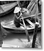 Vietnamese Woman Boat Ores Really For Tourist Mekong Delta  Metal Print