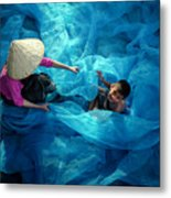 Vietnamese Women Repair Fishing Net And Fish Nets. Metal Print