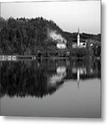 View Across Lake Bled In Black And White Metal Print