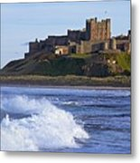 View From Ocean Of Bamburgh Castle Metal Print