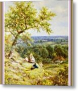 View From The Hill On The Village Below. P B With Decorative Ornate Printed Frame. Metal Print