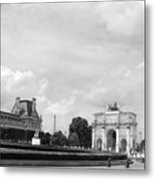 View From The Louvre In Black And White Metal Print