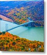 View From Top Of Bear Mountain Of Bear Mountain Bridge Metal Print