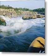 View From Whitewater Kayak At The Top Metal Print