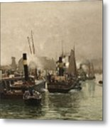 View Of A Dutch Harbour Metal Print
