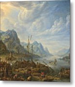 View Of A River With Boat Moorings Metal Print