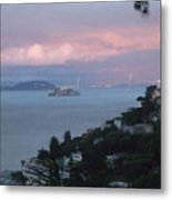 View Of Alcatraz From Our Sausalito Home Metal Print