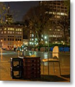 View Of Chess Board In The Middle Of Busy Sidewalk At Night Metal Print