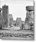 View Of Circle Of Sarsen Trilithon Stones With Tenon Joint On One On Left And Banking With Centre Al Metal Print
