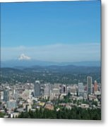 View Of Downtown Portland Oregon From Pittock Mansion Metal Print