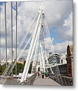 View Of Golden Jubilee Bridge, Thames Metal Print