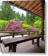 View Of Japanese Garden From The Veranda Metal Print