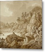 View Of Karlsbad In The Foreground A Young Mother With Her Children Metal Print