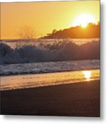 View Of Large Fishing Boat From The Beach At Sunset Metal Print