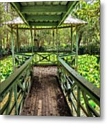 View Of Lily Pads From Gazebo By Kaye Menner Metal Print