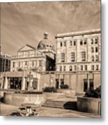 View Of Montgomery County Courthouse From The Southside In Sepia Metal Print