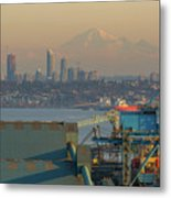 View Of Mount Baker And Vancouver Bc At Sunset Metal Print