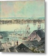View Of New York From Brooklyn Heights Ca. 1836, John William Hill Metal Print