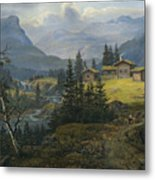 View Of Oylo Farm, Valdres Metal Print