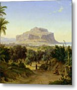 View Of Palermo With Mount Pellegrino Metal Print by August Wilhelm Julius Ahlborn