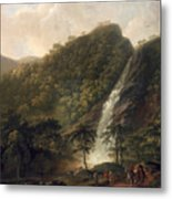 View Of Powerscourt Waterfall Metal Print