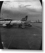 View Of The Aircraft Through The Window With Raindrops Metal Print