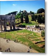 View Of The Arch Of Constantine From The Colosseum Metal Print