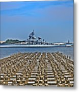 View Of The Battleship New Jersey From Philadelphia Metal Print