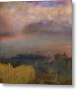 View Of The Bay Of Naples With Vesuvius Smoking In The Distance Metal Print