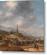 View Of The Beach At Scheveling Metal Print