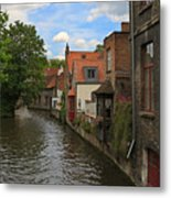 View Of The Canal From Maria Brug On Katelijnestraat In Bruges Metal Print