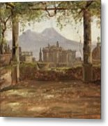 View Of The Castel Nuovo And Vesuvius From A Pergola Metal Print