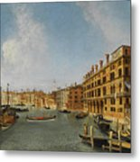 View Of The Grand Canal Venice With The Fondaco Dei Tedeschi Metal Print
