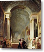 View Of The Grande Galerie Of The Louvre Metal Print