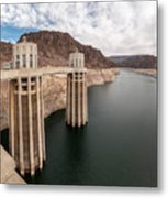 View Of The Hoover Dam Lake With Low Water Reserves Metal Print