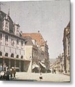 View Of The Market Horn  With The Statue Of Jan Pietersz Coen And The Waag Anonymous  1907   1930 Metal Print