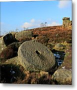 View Of The Mother Cap Gritstone Rock Formation, Millstone Edge Metal Print