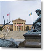 View Of The Museum Of Art In Philadelphia From The Parkway Metal Print