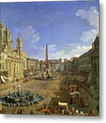 View Of The Piazza Navona Metal Print