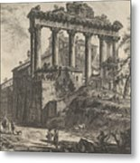 View Of The So-called Temple Of Concord With The Temple Of Saturn, On The Right The Arch Of Septimiu Metal Print