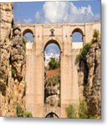 View Of The Tajo De Ronda And The Puente Nuevo Bridge From Across The Valley Metal Print